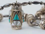 Hopi Signed Sterling Silver Inlaid Multi Stone Tube Melon Pearl Beads Necklace