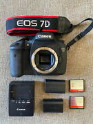 Canon Eos 7d 18.0mp Digital Slr Camera - W/ 2 Batteries Charger 2 Memory Cards
