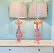 2 Barovier And Toso Murano Lamps- Pink Cranberry Glass W/ Silver W/label