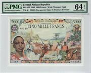 1980 Central African Republic 5000 Francs P 11 Pmg 64 Epq Choice Uncirculated