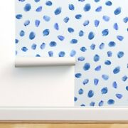 Peel-and-stick Removable Wallpaper Watercolor Dots Blue White Blueprint Abstract