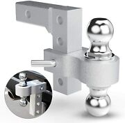 Mount Ball Adjustable Dual Hitch Drop Tow Trailer Receiver Truck Heavy Duty