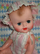 Vintage 20 Vinyl Molded Hair Drink Wet Baby Doll W/ Outfit 1950and039s 1960and039s