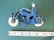 Champion Cast Iron Toy Police Motorcycle 5 Inch Blue Excellent 100 Original