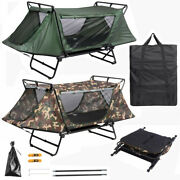 Folding Single Camping Tent Cot Hiking Bed Outdoor Waterproof Tent Camo Green Us