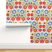 Wallpaper Roll Floral Folk Art Polish Inspired Embroidery Look 24in X 27ft