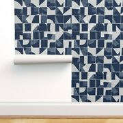 Wallpaper Roll Geometric Abstract Blue And Large Scale Scandinavian 24in X 27ft