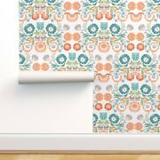 Wallpaper Roll Pastel Floral Folk Art Inspired Polish Embroidery 24in X 27ft