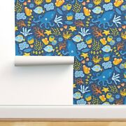Wallpaper Roll Sea Life Underwater Creatures Blue Yellow Nautical 24in X 27ft