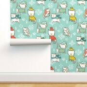 Wallpaper Roll Winter Sweater Cats Holiday Fair Isle Gender Neutral 24in X 27ft