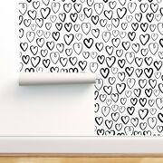 Wallpaper Roll Heart Black White Love And Hearts Valentines Day 24in X 27ft