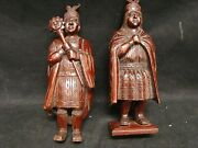Old Couple Figurines Characters Inca Peru Wooden Carved America