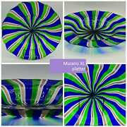 Rare Murano Glass Xl Size Platter With Swirled Coloured Stripes.