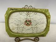 Vintage Green Celluloid Vanity Tray Lace Petit Pointe Rose Dressing Table Tray