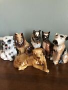 """Lot Of 6 Porcelain Dog Figurines Made In Brazil 6"""" 7"""" Vguc Collie Boxer"""