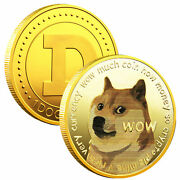 Gold Dogecoin Coins Commemorative 2021 New Collectors Plated Doge Coin Usa Stock
