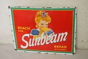 Sunbeam Bread Porcelain Signs Country Store Advertising Man Cave Decor Red