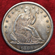 1860-s Liberty Seated Half Dollar, Wb-1 Large S,very High Grade Ms Sale 25