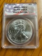 2016 P 1 Silver Eagle Anacs Ms70 Struck At Philadelphia Mint - Rare Label