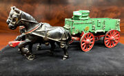 Mccormick Deering Circa 1920s Arcade Toy Horses With Wagon Cast Iron Complete