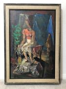 🔥 Antique Mid Century Modern Cubist Abstract Oil Painting Portrait - Thorp