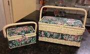 """Sewing Basket Fabric Craft Boxes 2 Lg And Sm Corresponding Length 13"""" And 7.5"""""""