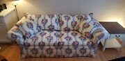 Ethan Allen Floral Living Room Sofa And Swivel Chair Country Crossing Yellow Blue