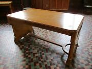 1928 Arts And Crafts - Mission - White Oak Library / Dinning Room Table 5and039-0