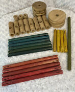 Lot Of 32 Vintage Wooden Tinker Toys Replacement Parts, Wheels, Sticks