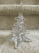 Ronneby Glass Crystal Clear 8 Christmas Pine Tree Etched Bottom Free Shipping