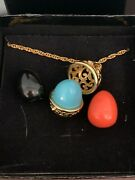 New Joan Rivers Filigree Egg Pendant 30 Necklace Changeable Black Coral Teal