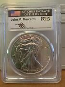 2017-p Mercanti Flag Silver Eagle Pcgs Ms70 - First Strike - Pop Only 26