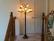 Gorgeous Style Lily Pad Floor Lamp 12 Light Art Glass Trumpet Shades 5't