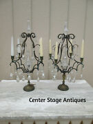 55144  Pair Antique Sconces Brass And Glass Lamps Candelabra S