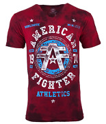 American Fighter Menand039s T-shirt Davenpaint Red Athletic Biker Gym Mma
