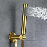Brushed Gold Brass Hand Held Shower Spray Head And Holder Connector And1.5 Hose Set