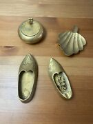 Antique Brass Lot Shoes And Ashtrays From India