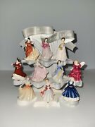 Royal Doulton Pretty Ladies Miniature Figurines Collection Set With Stand 11pcs