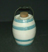 Small 5 Early 1905 - 1925 Blue And White Stoneware Barrel Syrup Keg Jug