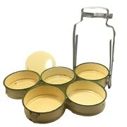 Vintage Enamelware Yellow Tiffin Lunch Box Food Container Yellow Bento 5 Tiers