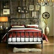 Iron Bed Frame Queen Size Farm Country Victorian Spindle Rustic Vintage Style