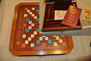Rare Franklin Mint Scrabble Game Board W/ 100 Gold Plated Tiles New Scores Bag
