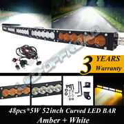 50and039and039 240w Led Work Light Bar Spot Flood Combo White Amber Fog Offroad Truck 4wd