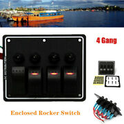 Boat Panel Switch 4 Gang Aluminium Rocker Switch Led Red Light For Rv Car Ip68