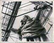 1953 Press Photo Rome Workman Put Finishing Touches On A Bronze Statue Of The