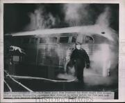 1949 Media Photo Smoke From Greyhound Bus Which Caught Fire Enroute To La