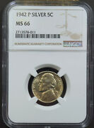 1942-p Silver Wartime Jefferson Nickel Ngc Ms66 578011