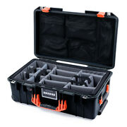 Black And Orange Pelican 1535 Air Case With Lid Organizer And Grey Cvpkg Dividers.