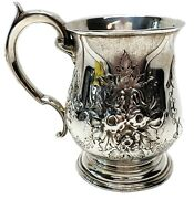 Victorian Richard Comyns Sterling Silver Floral Tankard W/ Decorated Handle 1866