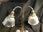 Vintage Victorian Antique Brass Table Lamp Ribbed Glass Shades Lefton Figurines
